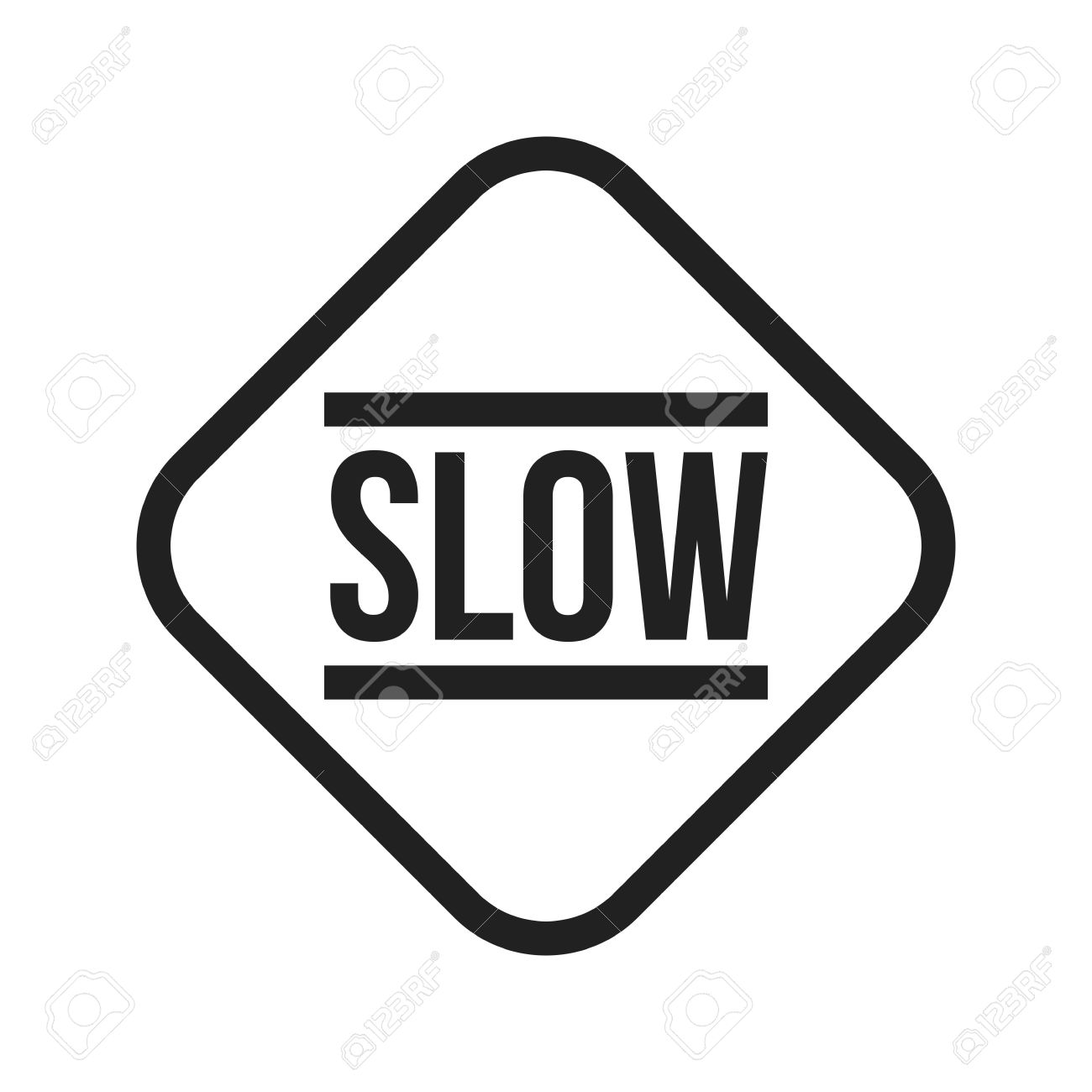 Slow, sign, down icon vector image. Can also be used for traffic signs. Suitable for web apps, mobile apps and print media. - 43646272