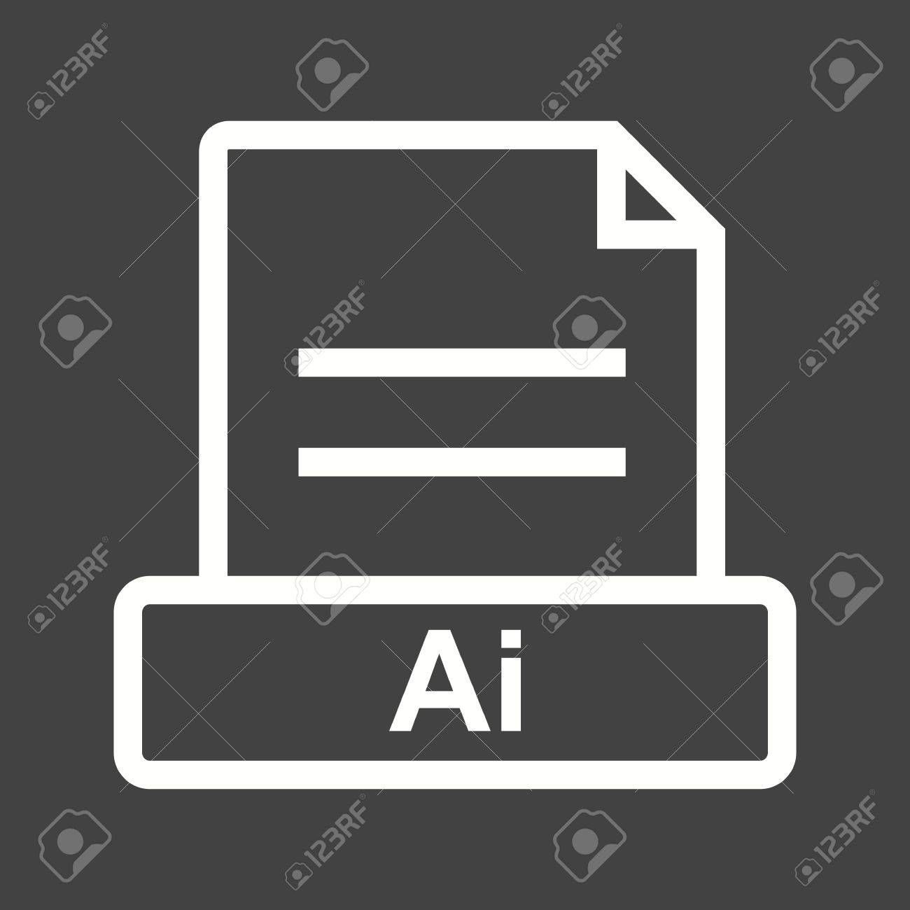 AI, file, extension icon vector image. Can also be used for file format, design and storage. Suitable for mobile apps, web apps and print media. Stock Vector - 43822778