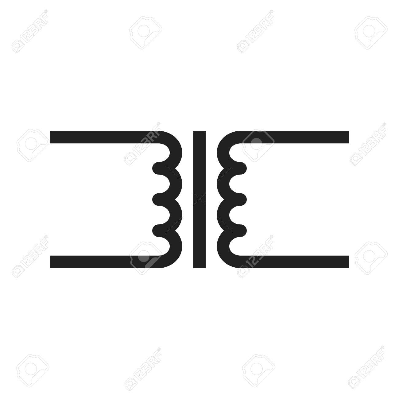 Transformator, Schaltung, Elektronische Symbol Vektor-Bild. Kann ...
