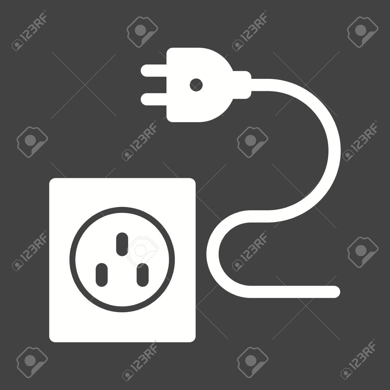 Stecker, Draht, Elektrische Symbol Vektor Image.Can Auch Für ...