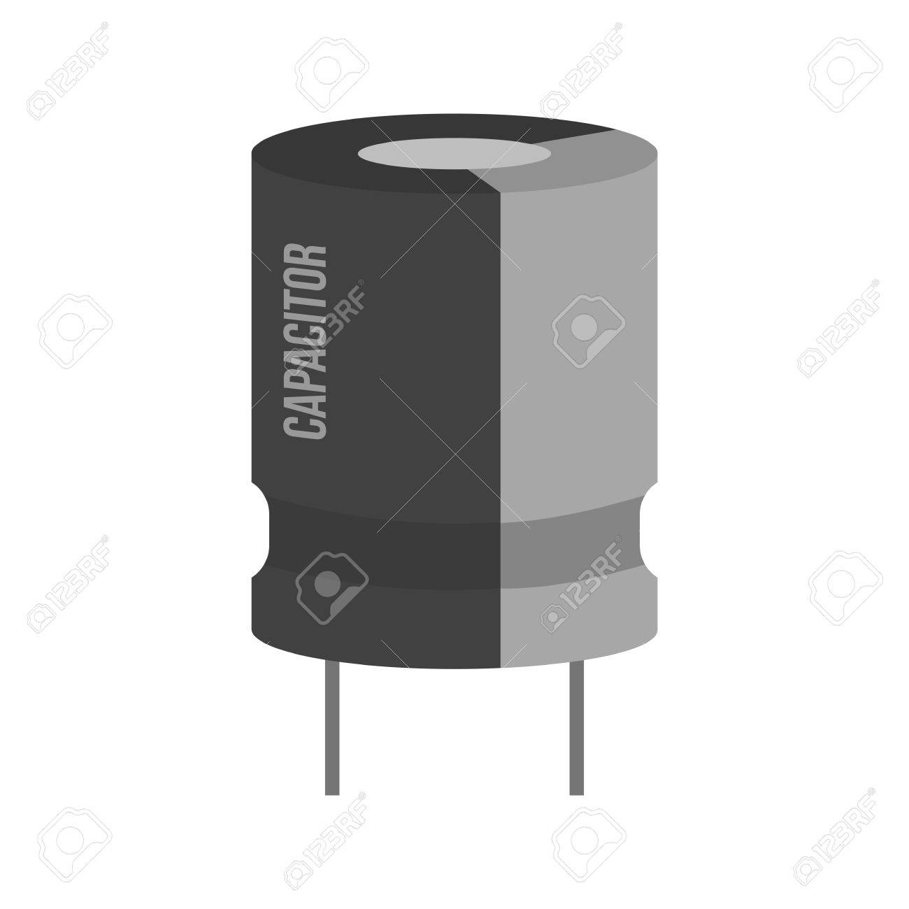 Capacitor Chip Electronic Icon Vector Image Can Also Be Used Role Of Capacitors In Circuit For Electric Circuits