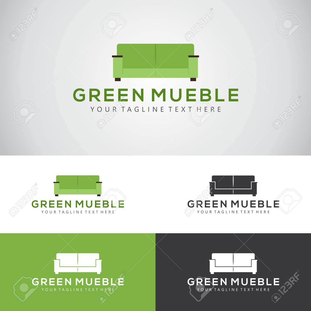 Green Mueble Logo Design With A Sofa Set For Furniture Manufacturers