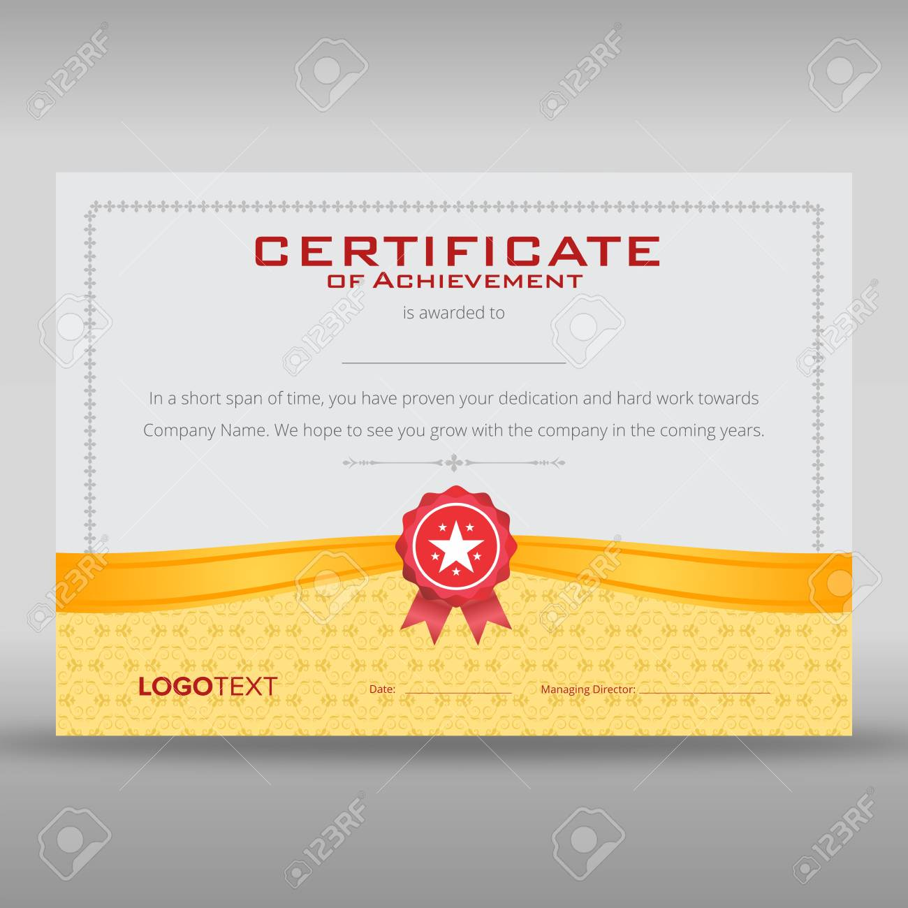retro print ready certificate of achievement with gold ribbon and soft grey framed background stock vector