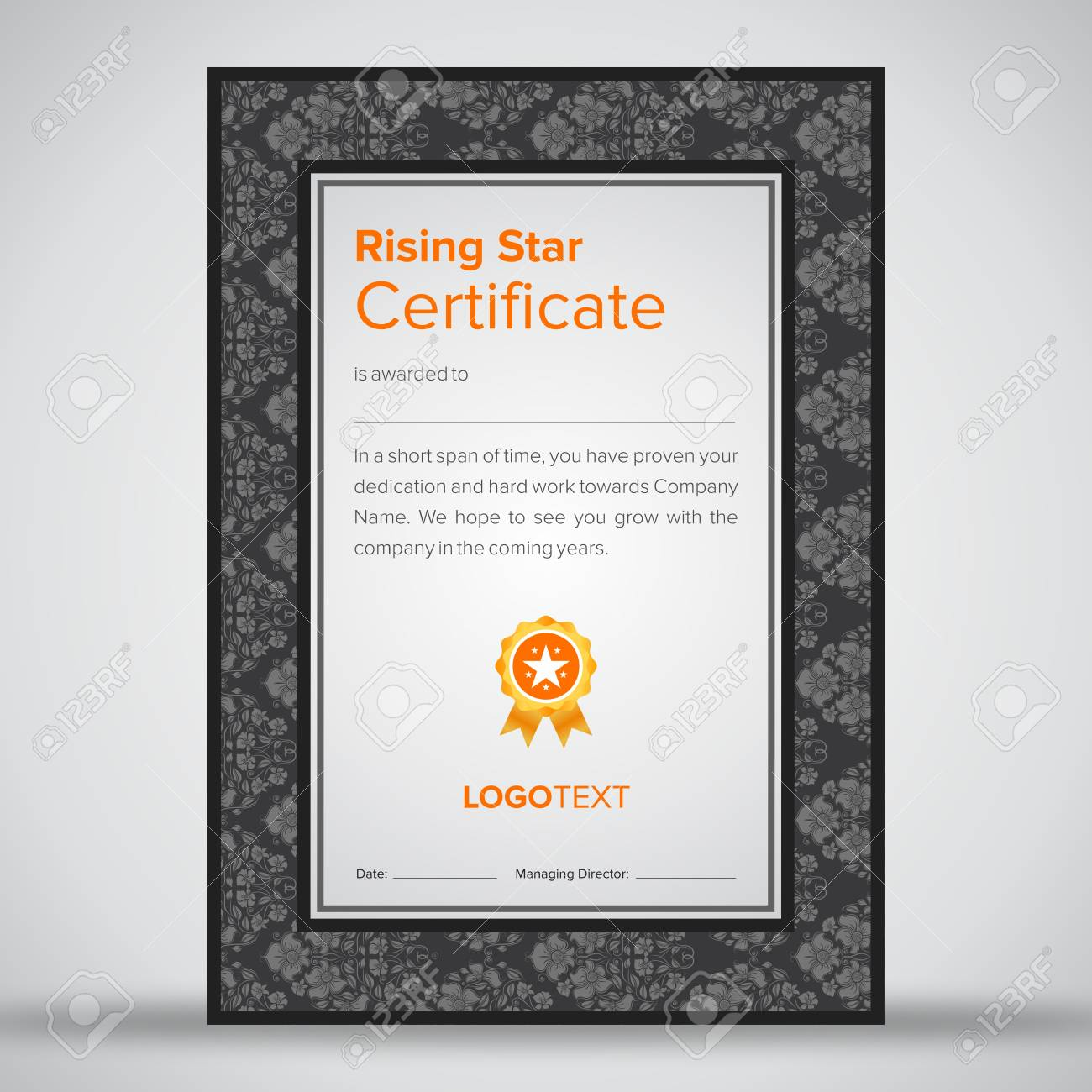 Luxury Grey Rising Star Certificate Royalty Free Cliparts Vectors