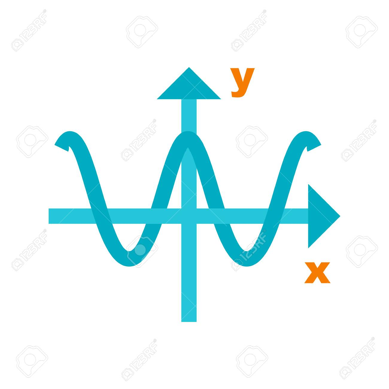 Cosine Waves Graph Icon Vector Image Can Also Be Used For