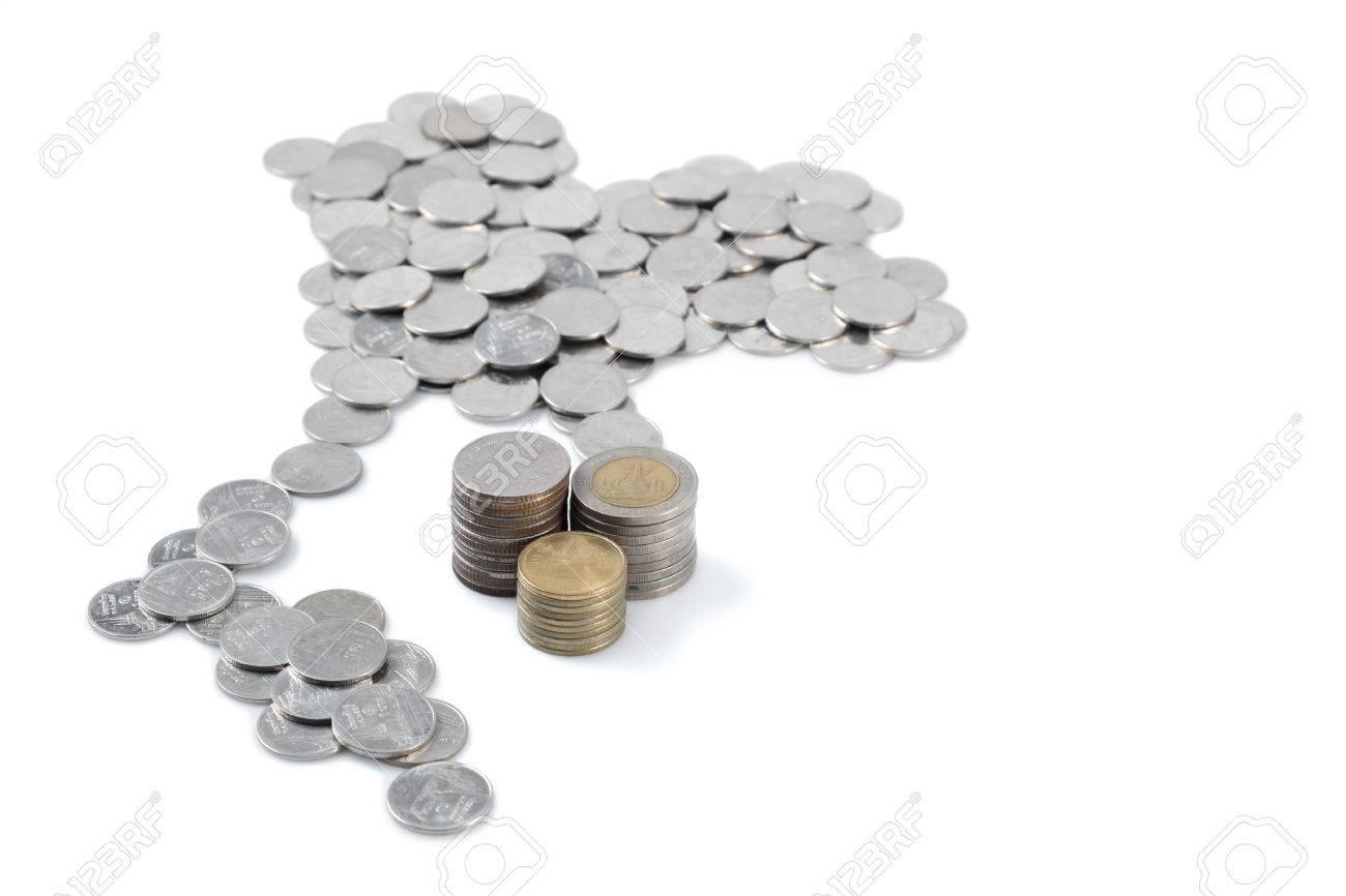 Thai Baht Münzen In Thailand Form Mit Stapel Von 2 5 Und 10 Baht