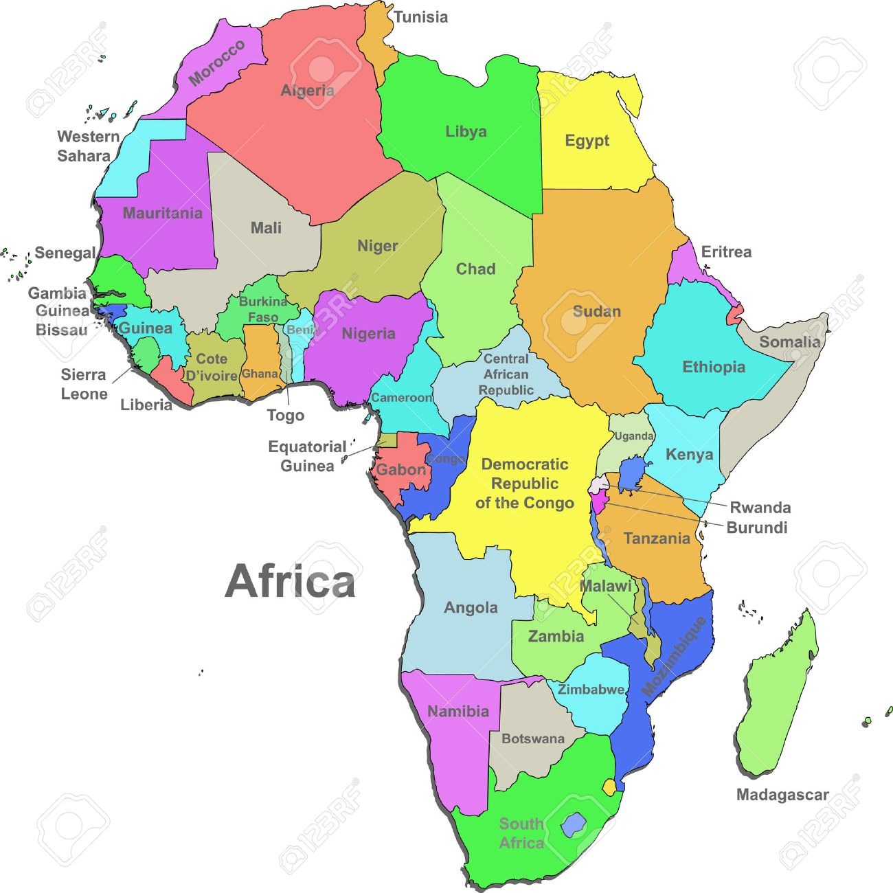 Color Map Of Africa With Countries On A White Background Royalty - Map africa