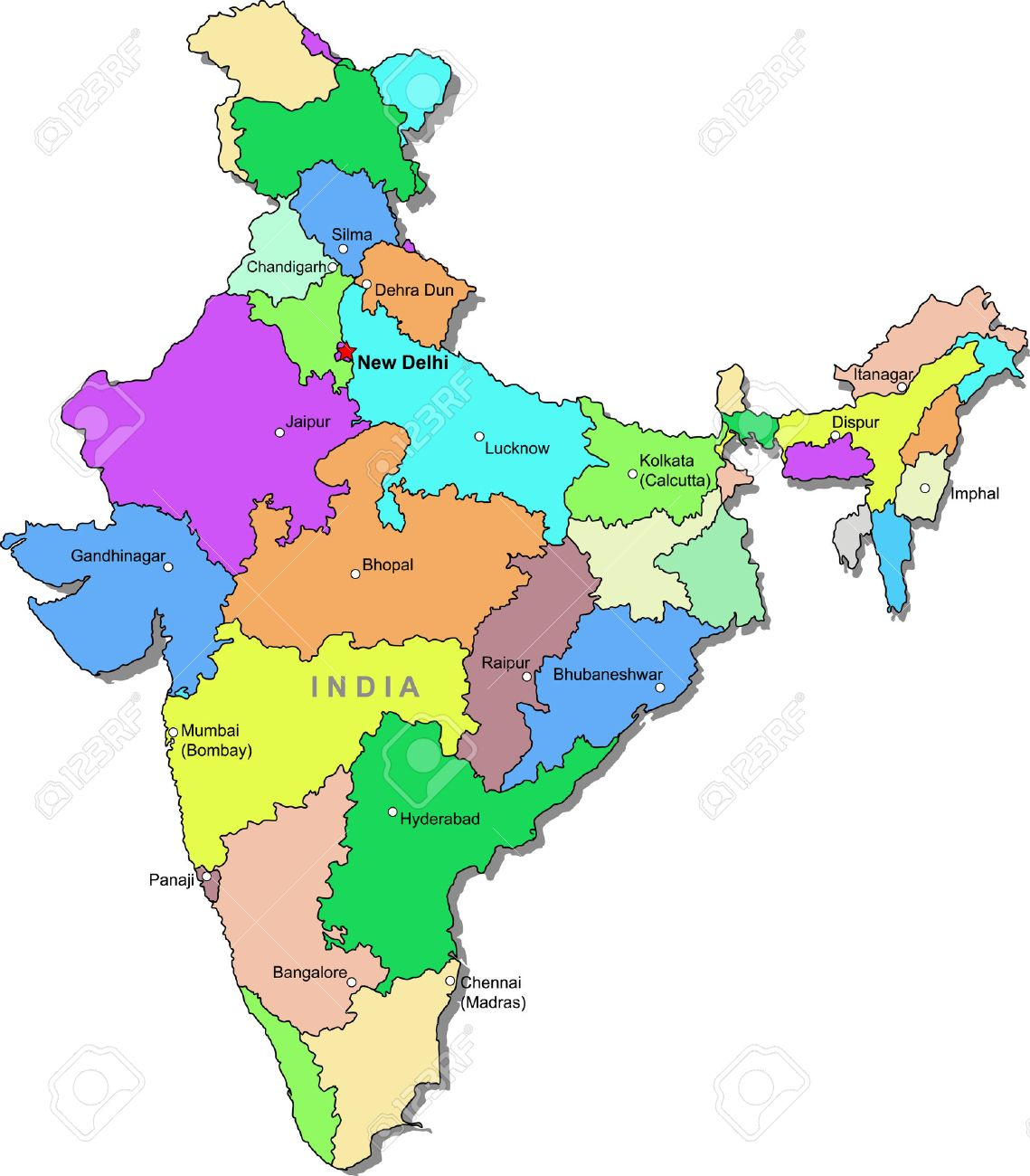 Color India Map Royalty Free Cliparts Vectors And Stock