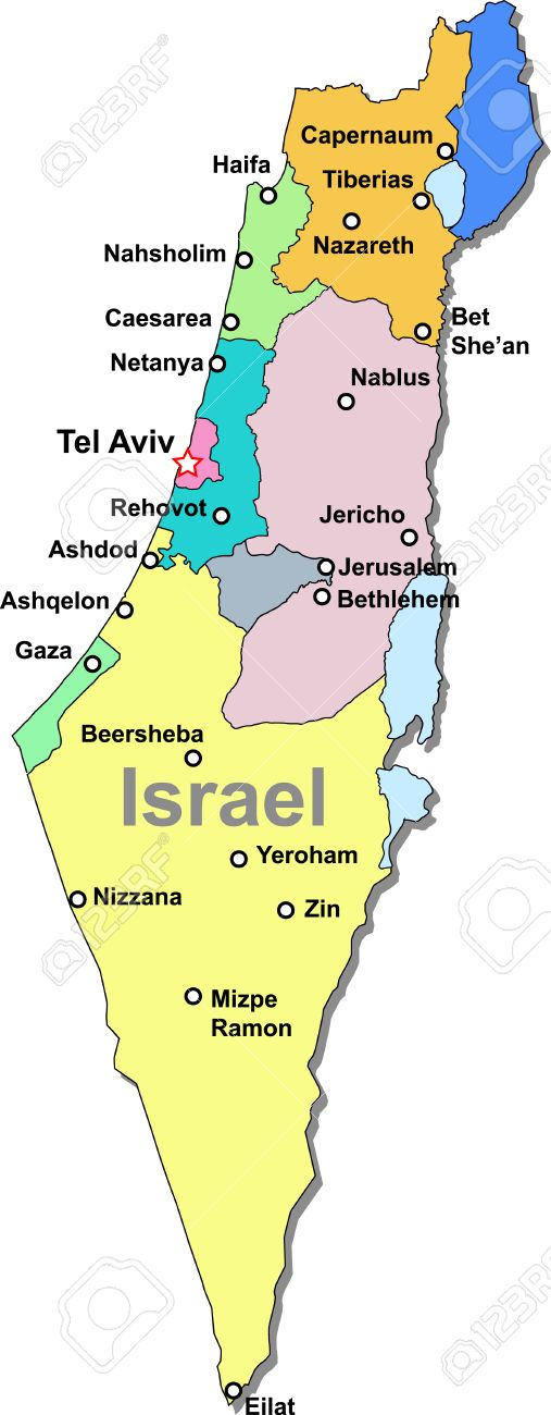 Color Israel Map Royalty Free Cliparts Vectors And Stock - Isreal map