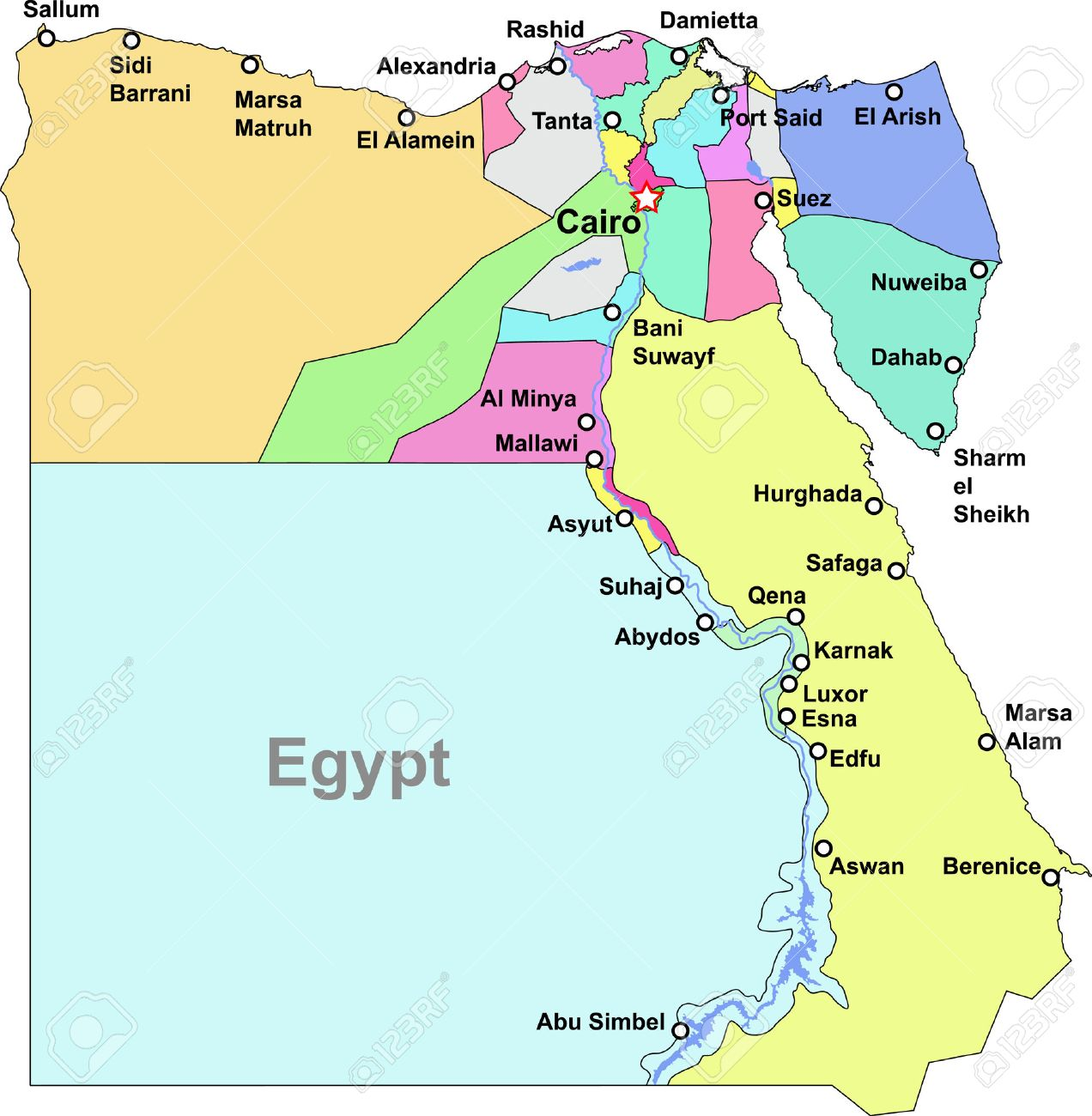 Egypt Region Map Color Egypt Map With Regions Over White Royalty Free Cliparts