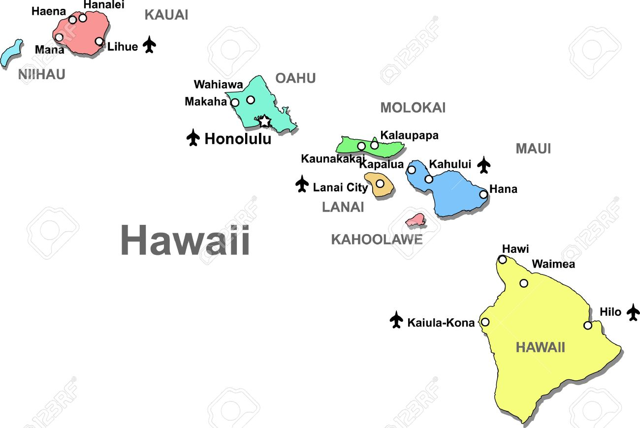 Color Hawaii Map Isolated Over White Royalty Free Cliparts - Hawaii map