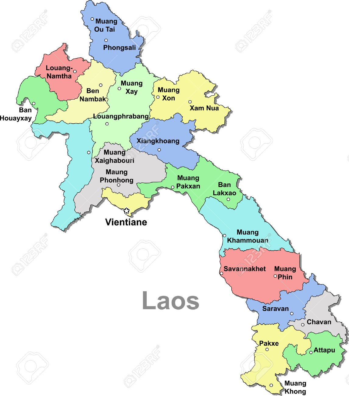 Color Laos Map Isolated Over White Royalty Free Cliparts, Vectors ...