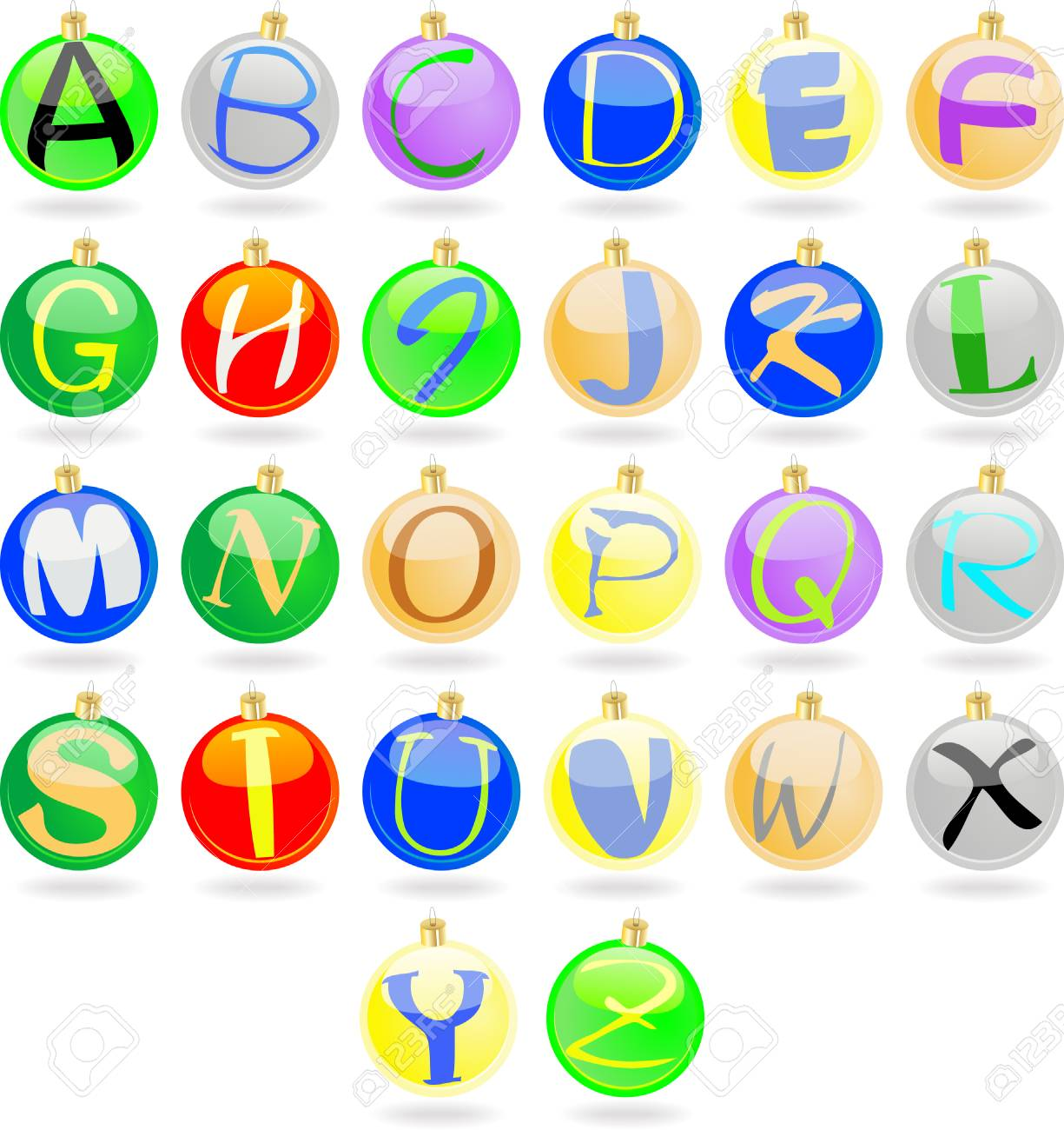 New year balls with alphabet Stock Vector - 7437955