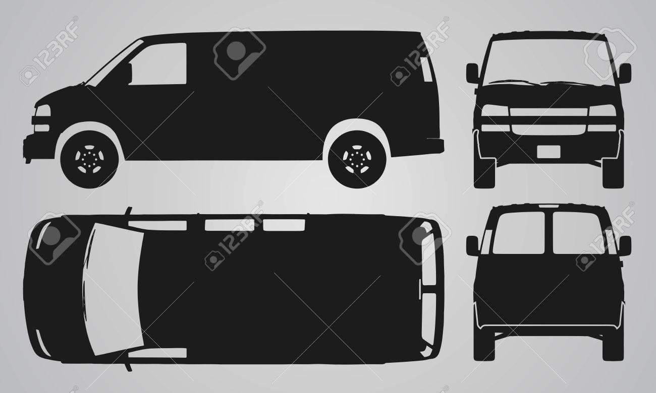 Vorne, Hinten, Oben Und Seitlich Van Auto-Projektion. Flache ...