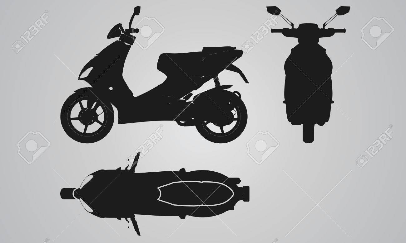 front top and side scooter projection flat illustration set royalty free cliparts vectors and stock illustration image 48151791 front top and side scooter projection flat illustration set