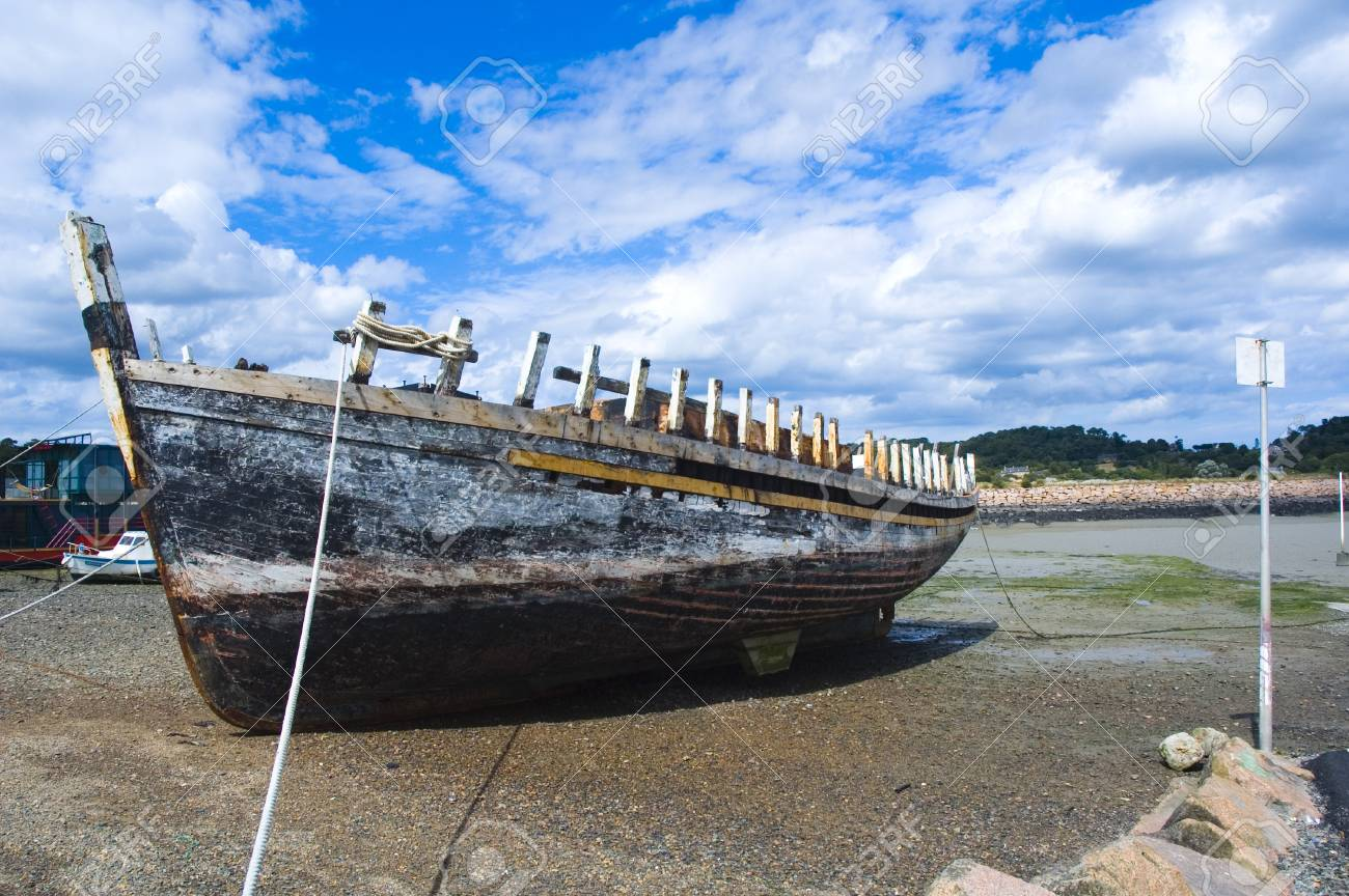 a shipwreck lying in a harbour to be restored Stock Photo - 1647508