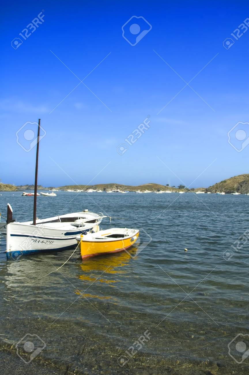 fishing boats lying on the beach of a bay Stock Photo - 3003360