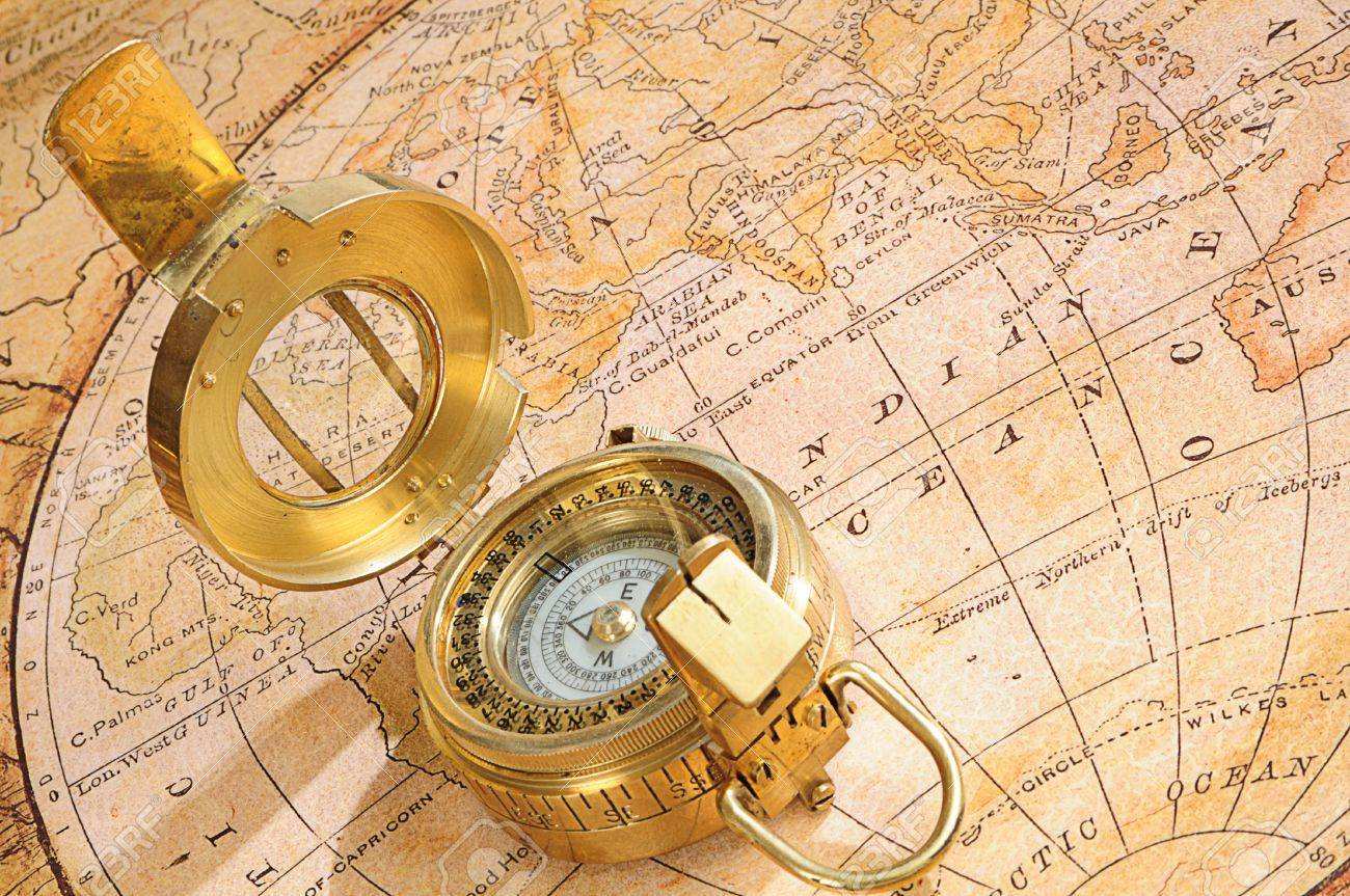 Oldfashioned Compass On A Background An Old Map Stock Photo - Old us map background