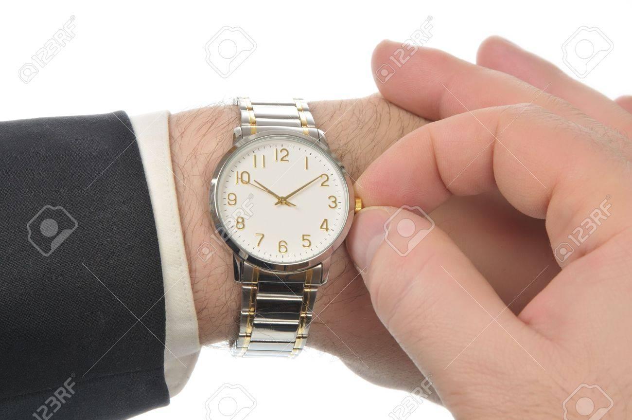 Armbanduhr am arm  Rechte Hand Setzt Zeit Armbanduhr Linken Arm Der Geschäftsleute ...