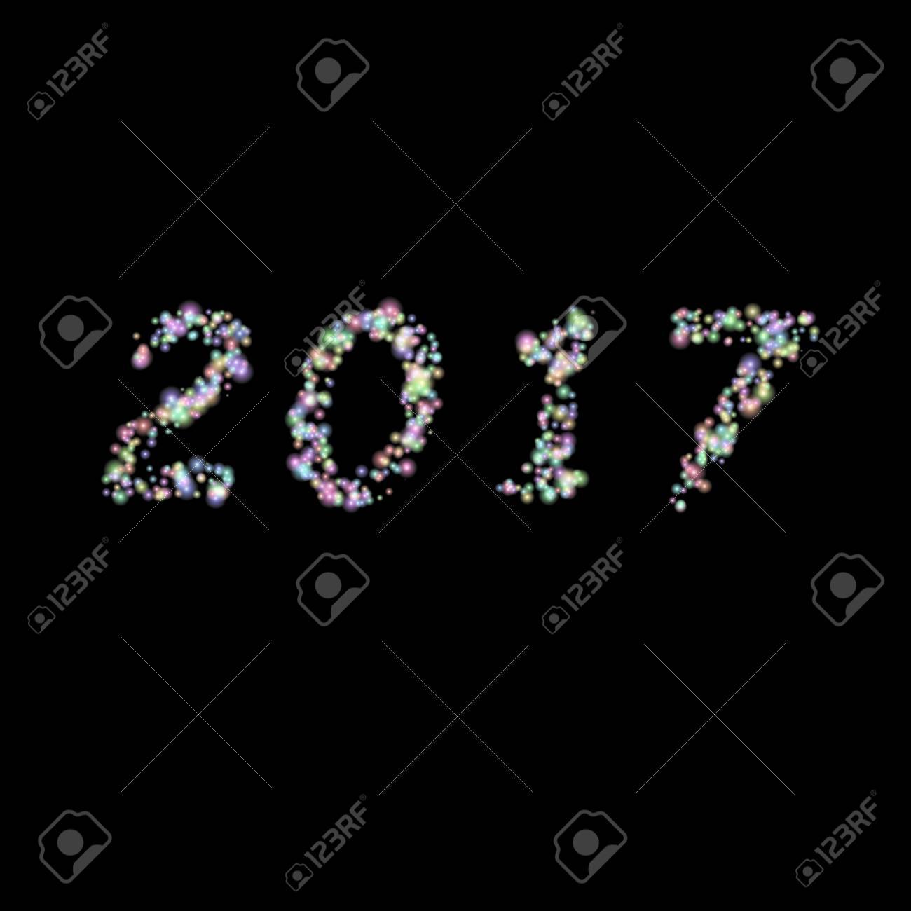 Feliz Año Nuevo 2017 Hizo De Estrellas Brillantes Colores. Texto ...