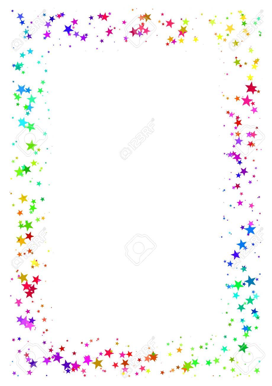 Abstrakte Rahmen Aus Bunten Sternen Auf Weißem Hintergrund. A4 ...