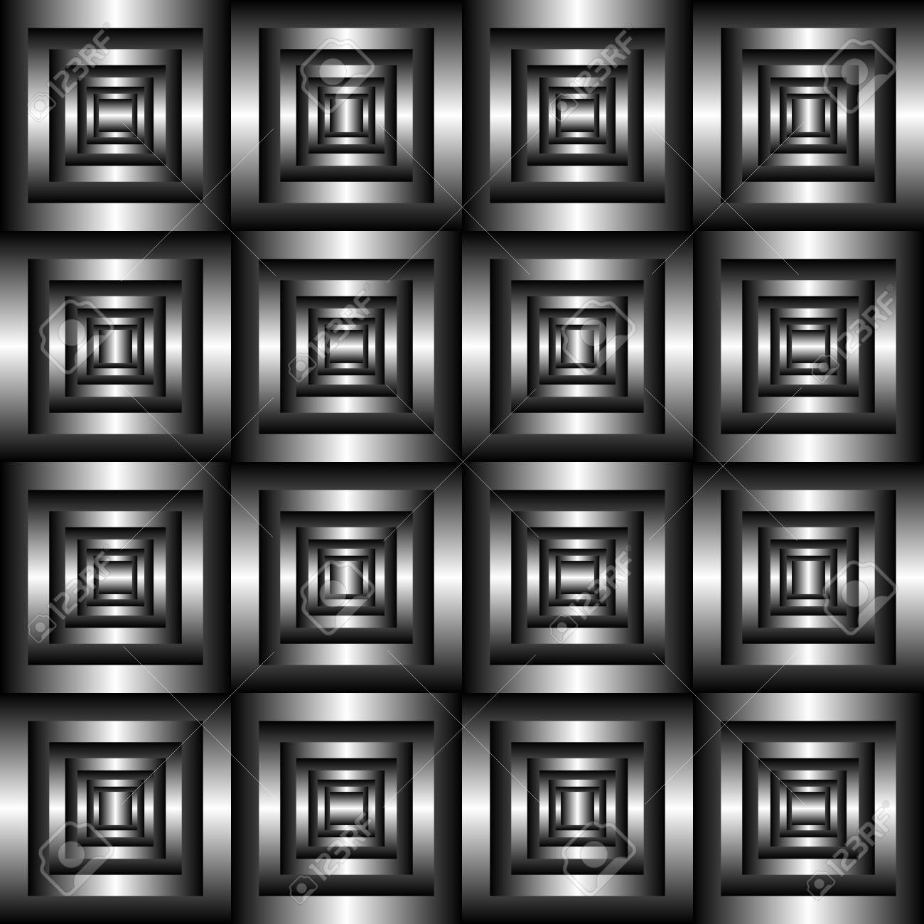Abstract Black And White Tile 3D Pattern Geometric Optical Illusion Tiled Texture Background