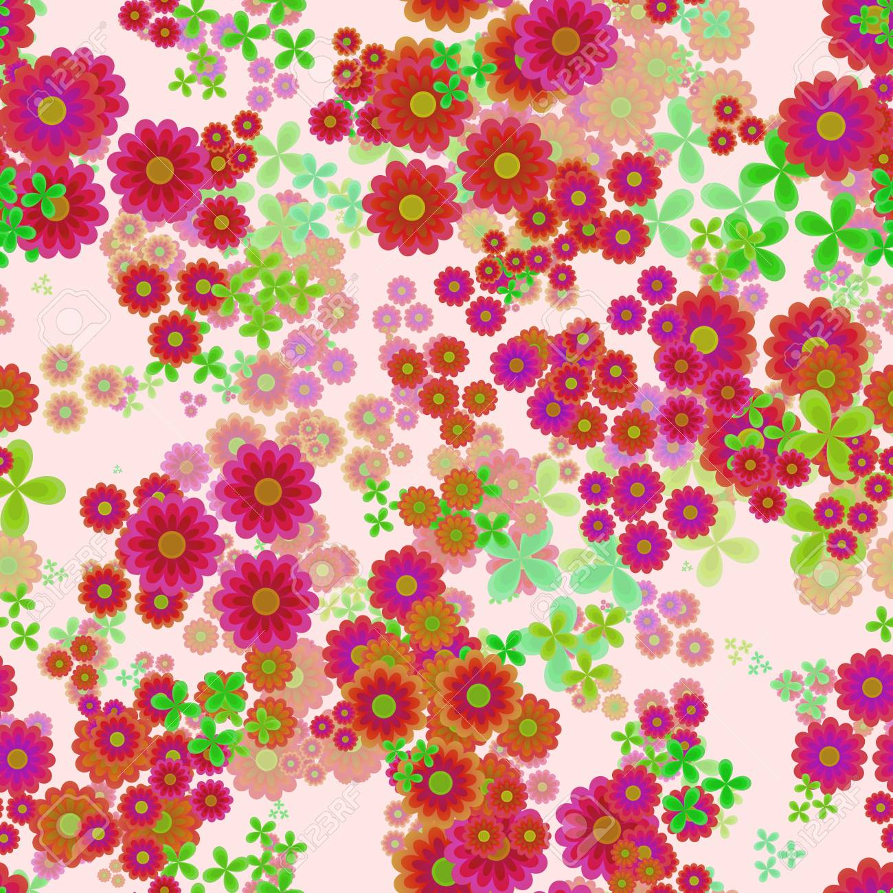 Abstract Flowers Red Orange Pink And Green Floral Pattern Stock Photo Picture And Royalty Free Image Image 74413952
