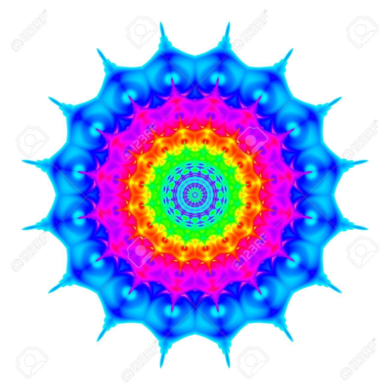 Zusammenfassung Mandala In Regenbogenfarben Blume Isoliert Auf