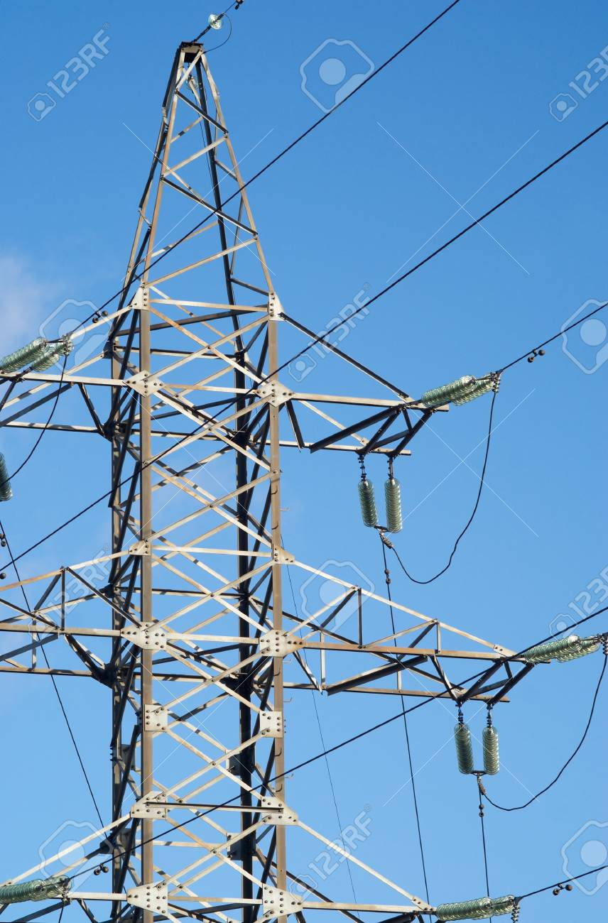 High-voltage Power Line Metal Tower Vertical View Stock Photo ...