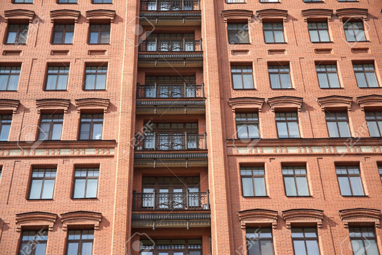 Brick Apartment Building Window front view of brick wall red contemporary apartment building