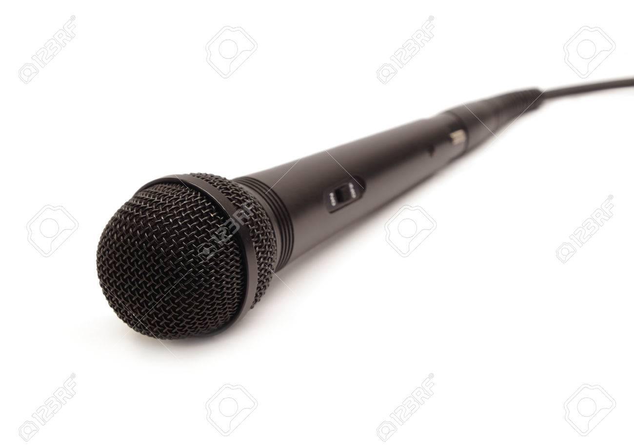 Long Black Vocal Microphone With On Button On Body And Wire Isolated ...