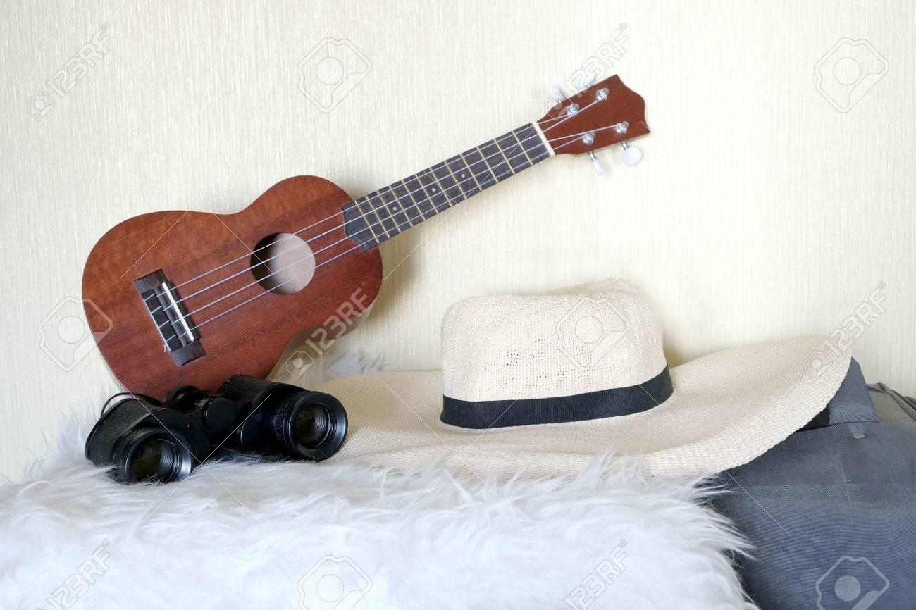 Zubehör für glückliche reisen kleine gitarre strohhut