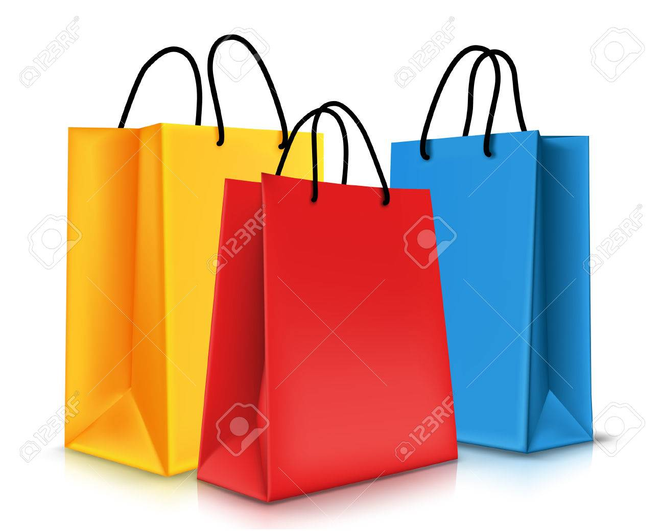 Set of Colorful Empty Shopping Bags Isolated. Vector Illustration - 35148391