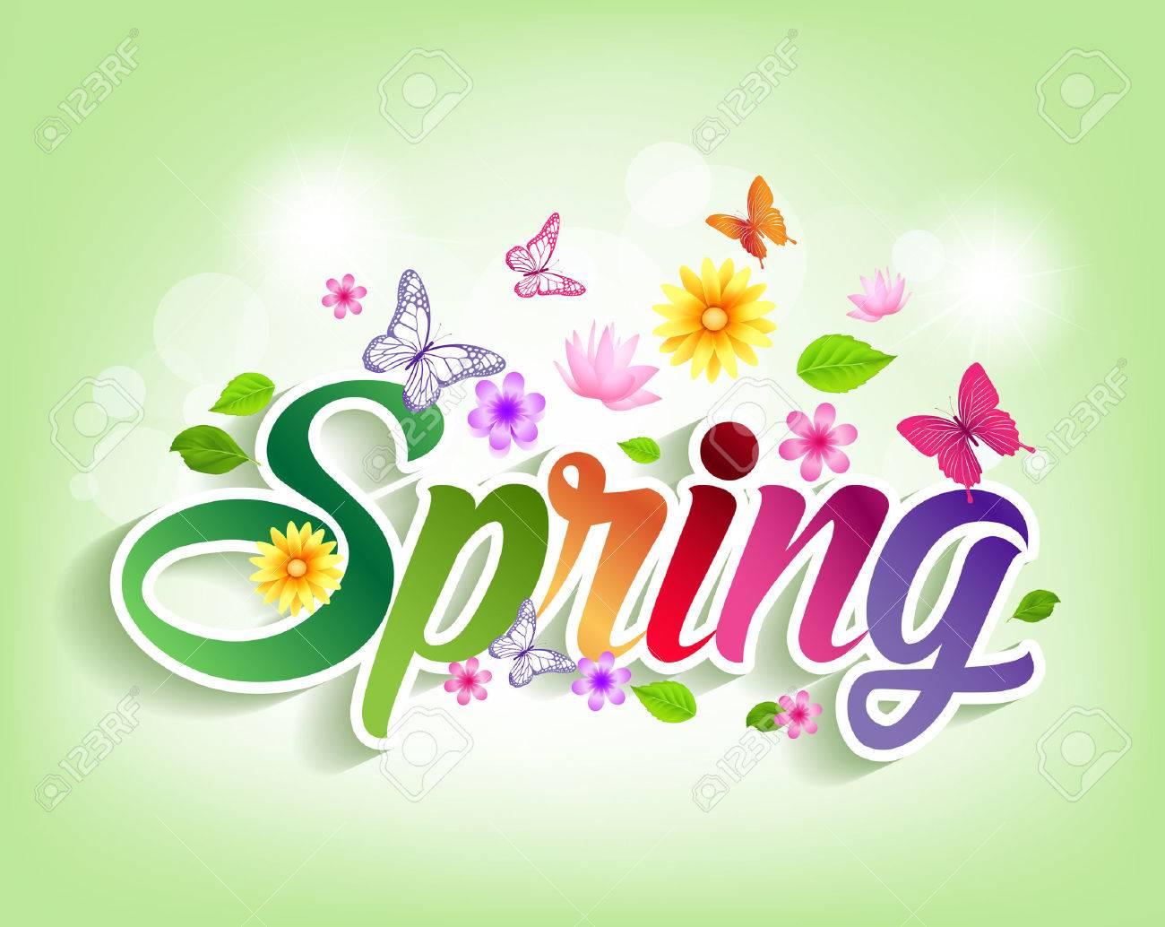 spring word paper cut with flowers u0026 butterflies vector