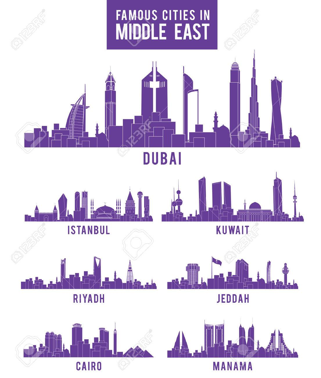 Set of Cities in Middle East Famous Buildings. Editable Vector Illustration - 37296230