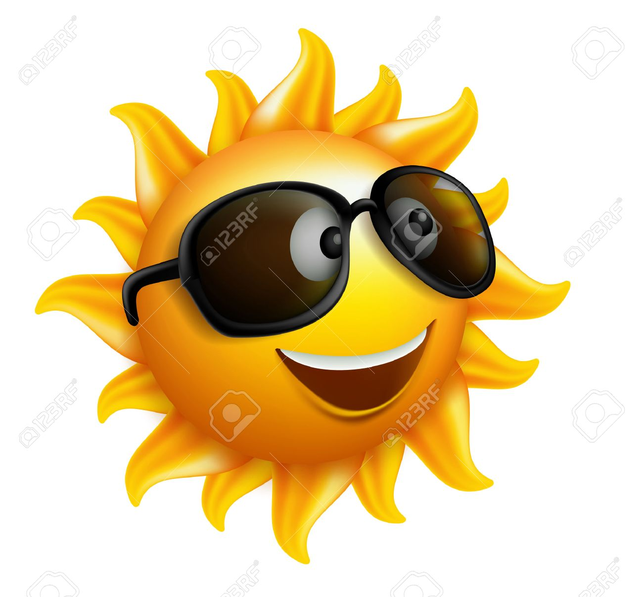 Smiling sun with sunglasses - Summer Sun Face With Sunglasses And Happy Smile Vector Illustration Stock Vector 37530820