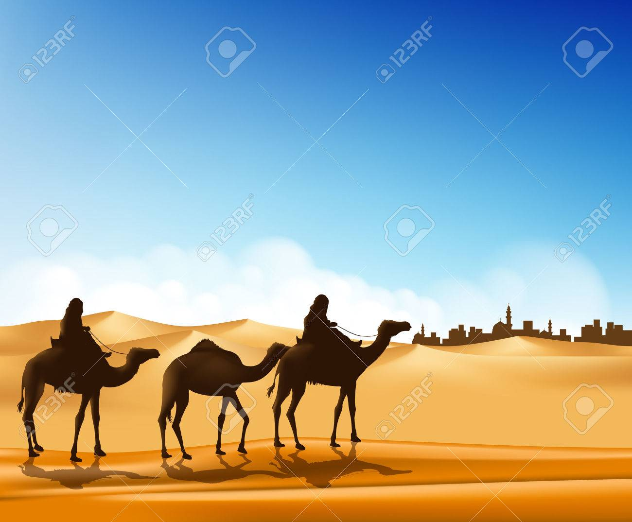 Group of Arab People with Camels Caravan Riding in Realistic Wide Desert Sands in Middle East Going to a City. Editable Vector Illustration - 38617200