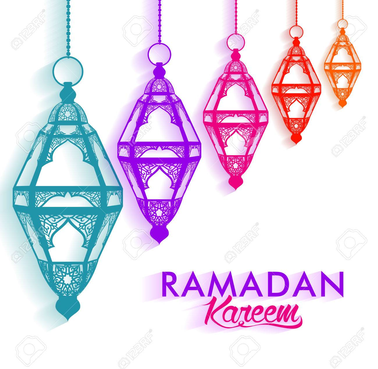Colorful Elegant Ramadan Kareem Lanterns Or Fanous Hanging In White Background With Shadow For The Holy