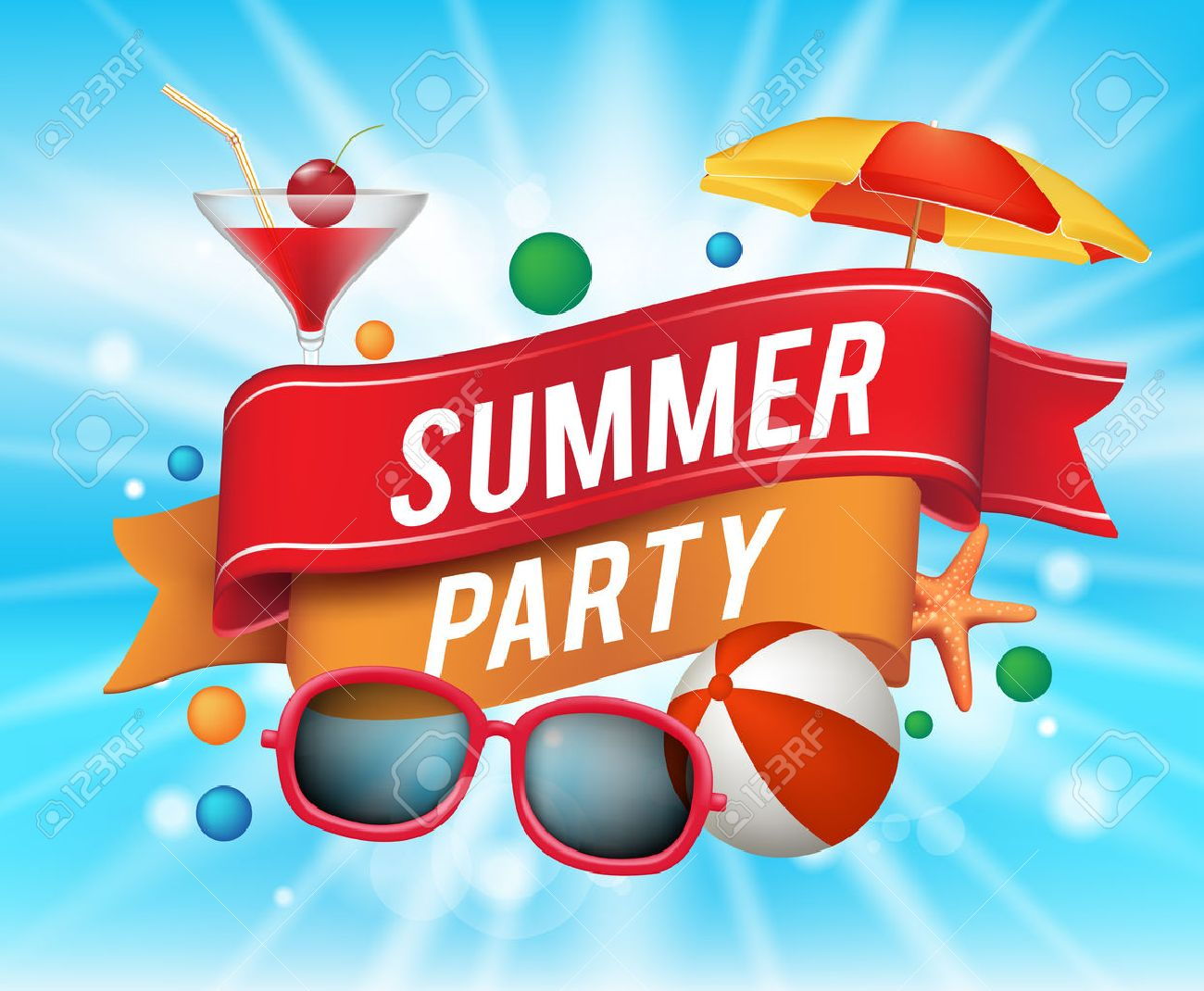 Summer Party Poster With Colorful Elements And A Text In A Ribbon With Blue Background