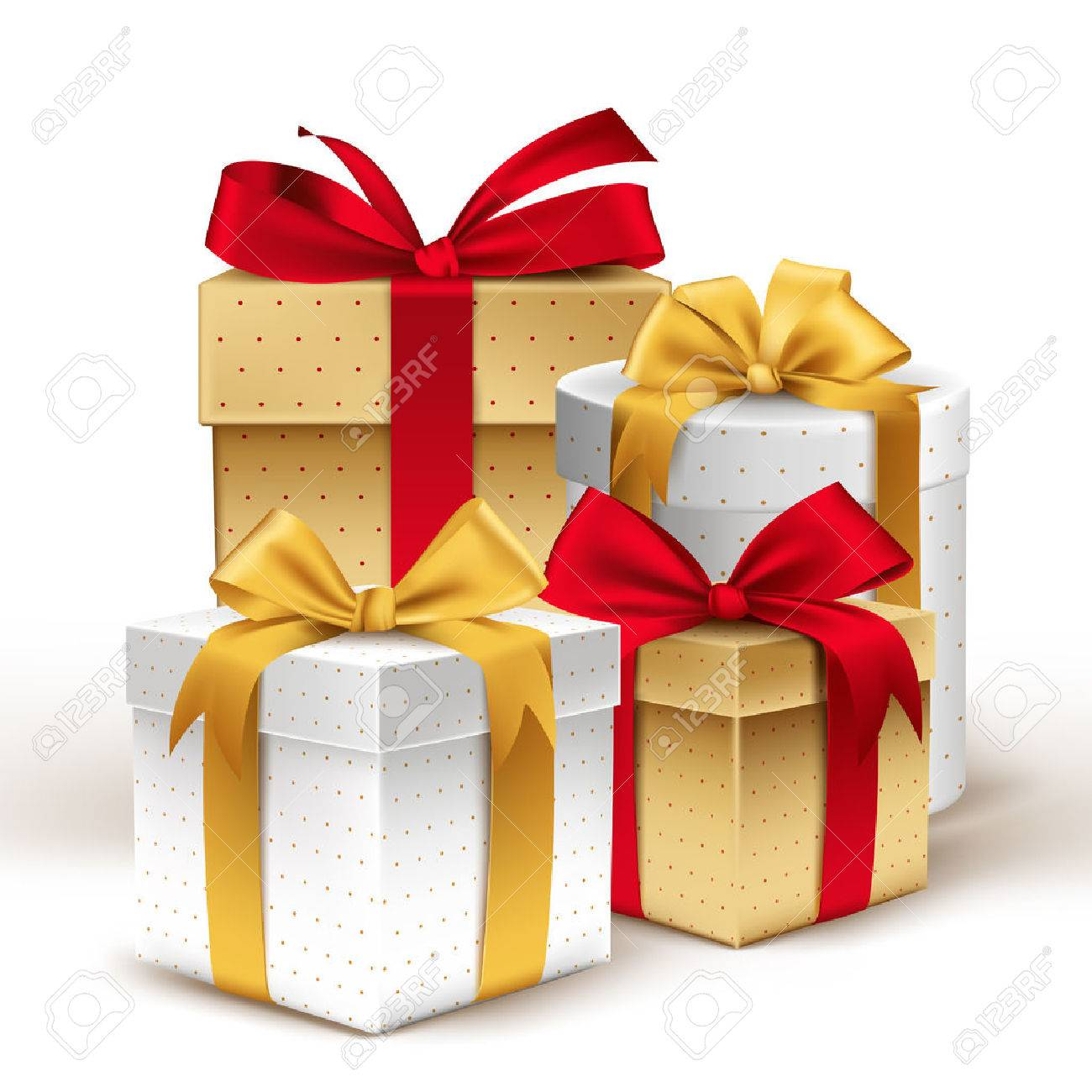 Group of Realistic 3D Colorful Gifts with Colorful Ribbons Wrap with Dotted Pattern for Birthday or Christmas Celebration in White Background. Editable Vector Illustration. - 41289671