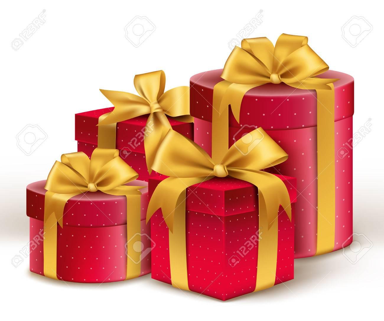 foto de archivo realistas d regalos rojos con coloridas cintas de oro envuelva con patrn de puntos para san valentn cumpleaos o celebracin de navidad