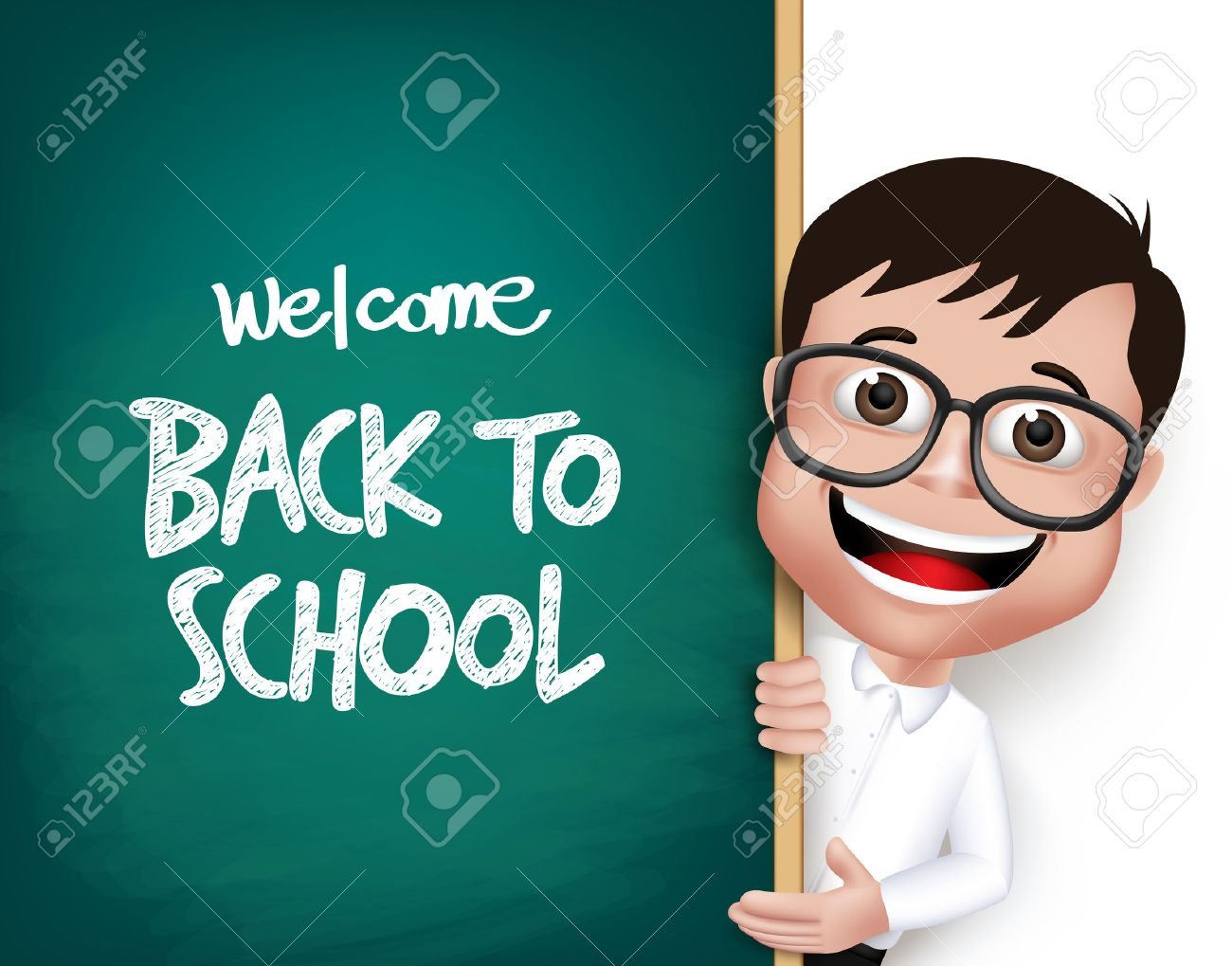 3D Realistic Nerd School Boy Student with Eyeglasses Happy Smiling Holding a Blackboard With Back to School Text Written Isolated in White Background. Vector Illustration - 43203055