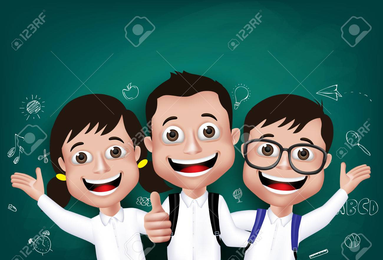 3D Realistic Children Student Boys and Girls Happy Smiling in Front of Blackboard With Back to School Drawings Written in Background. Vector Illustration - 43202689