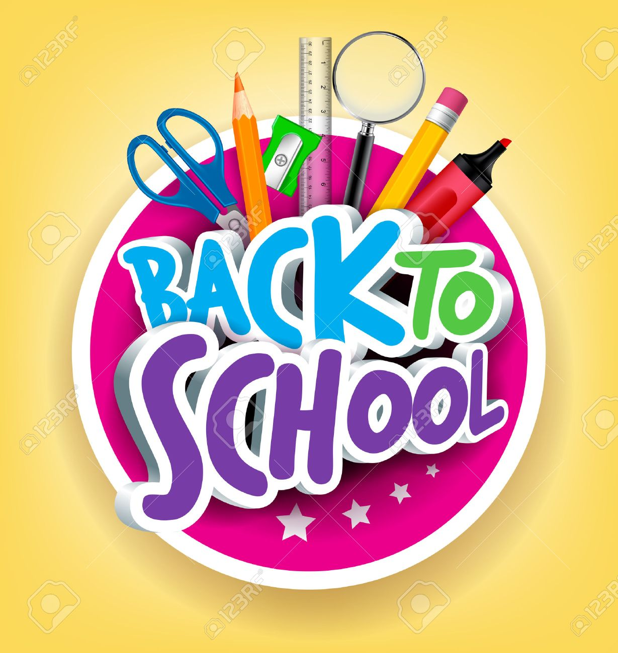 Colorful Realistic 3D Back to School Title Texts with School Items in a Circle for Poster Design in Yellow Background. - 43287094