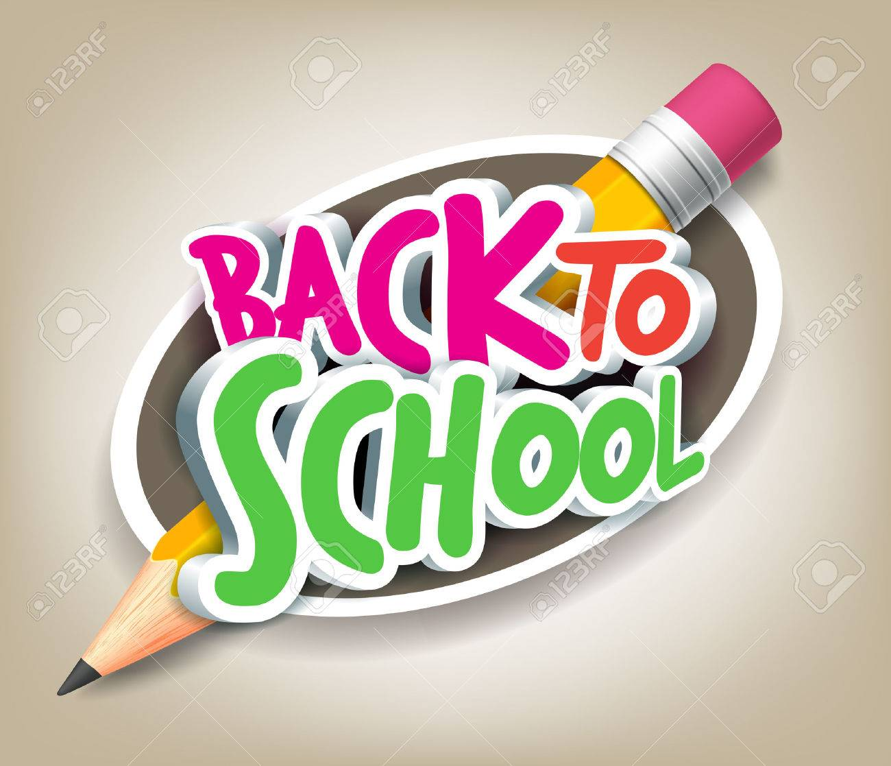Poster design 3d - Colorful Realistic 3d Back To School Title Texts With Big Pencil In A Circle For Poster