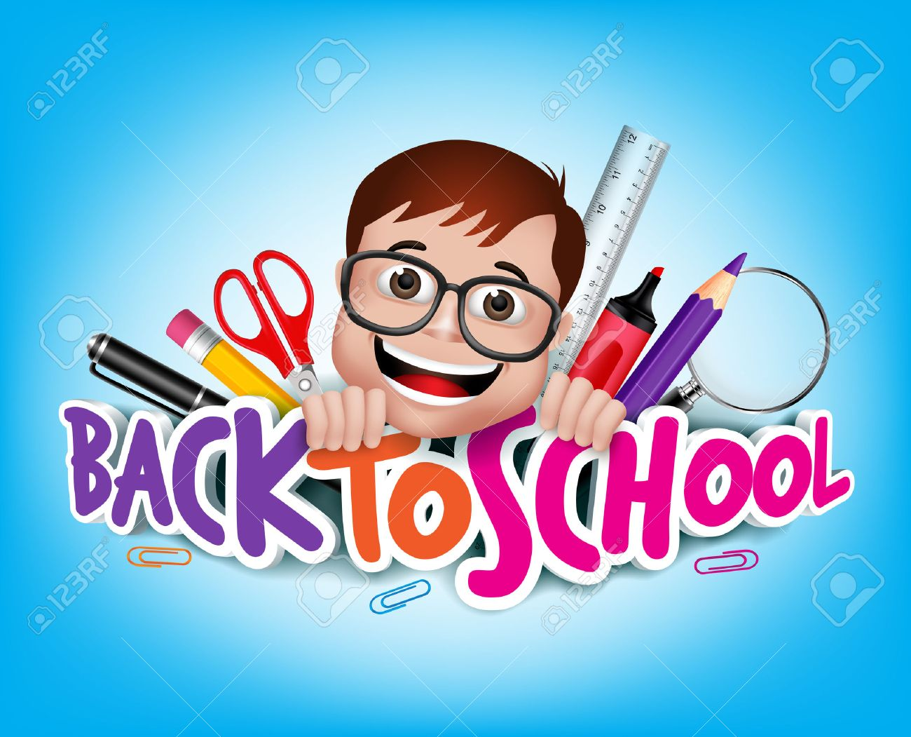 Colorful Realistic 3D Back to School Title Texts with Nerd Genius Student Happy Smiling with School Items. - 43287197