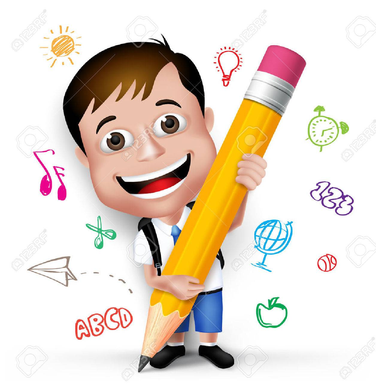 3D Realistic Smart Kid School Boy Wearing Uniform and Backpack Writing Creative Ideas with Big Pencil Isolated in White Background. - 43290683