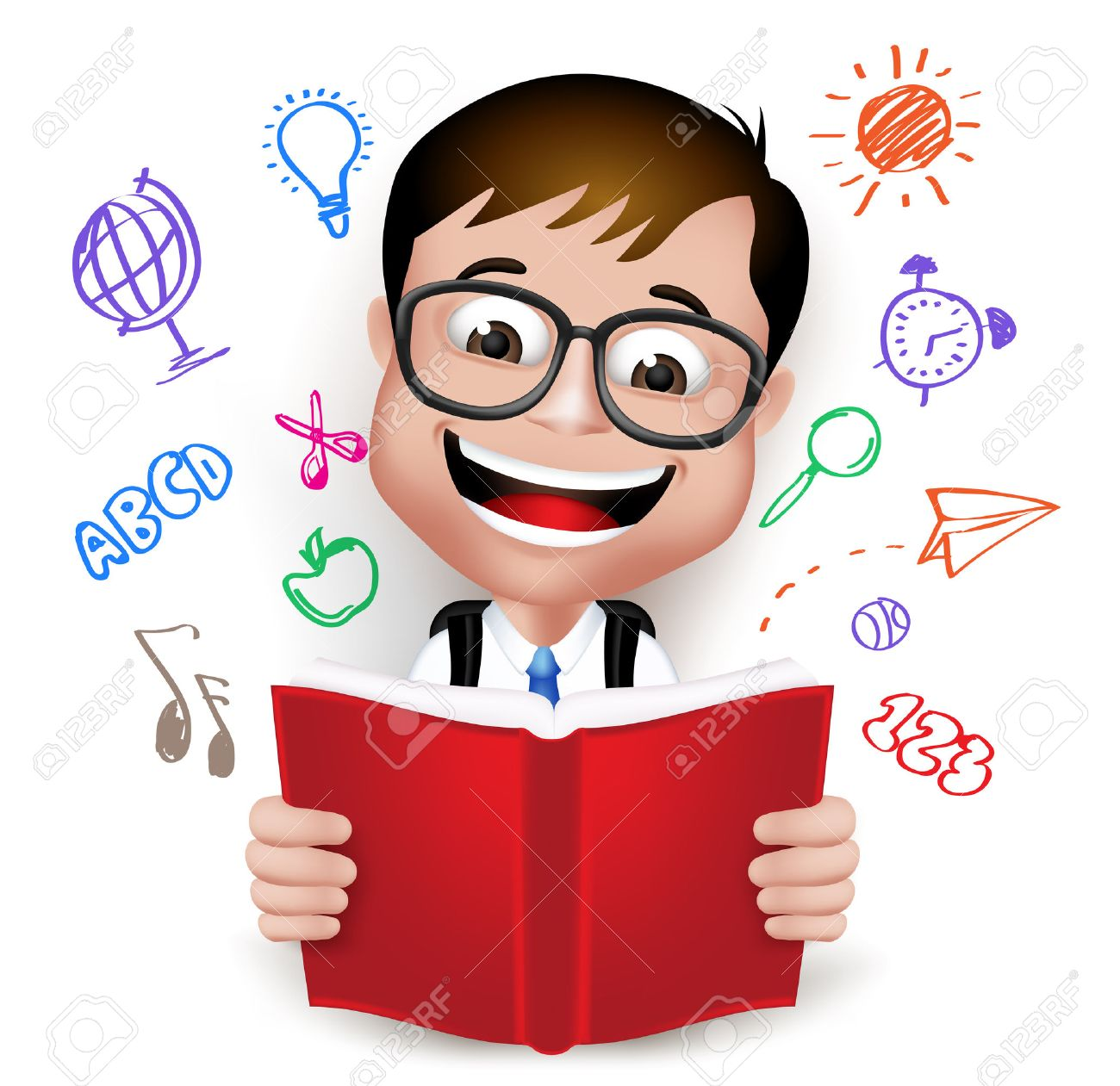 3D Realistic Smart Kid School Boy Wearing Uniform and Backpack Reading Book of Creative Ideas Isolated in White Background. - 43290686
