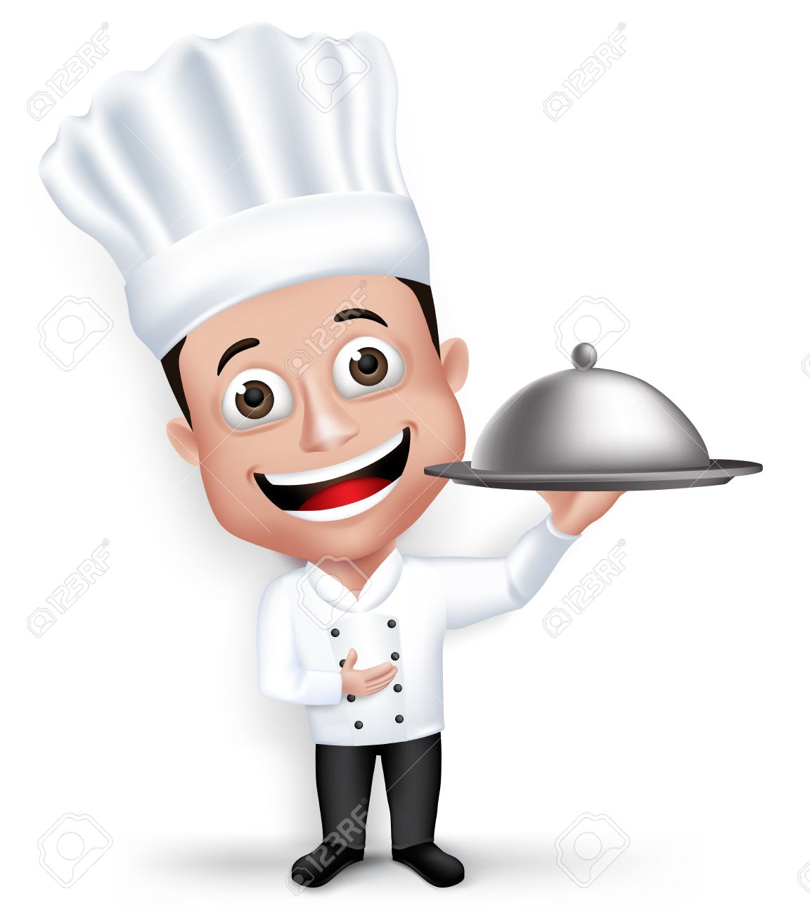Realistic 3D Young Friendly Professional Chef Cook Character in Restaurant Uniform Happy Serving Food Menu Isolated in White Background. - 43293697