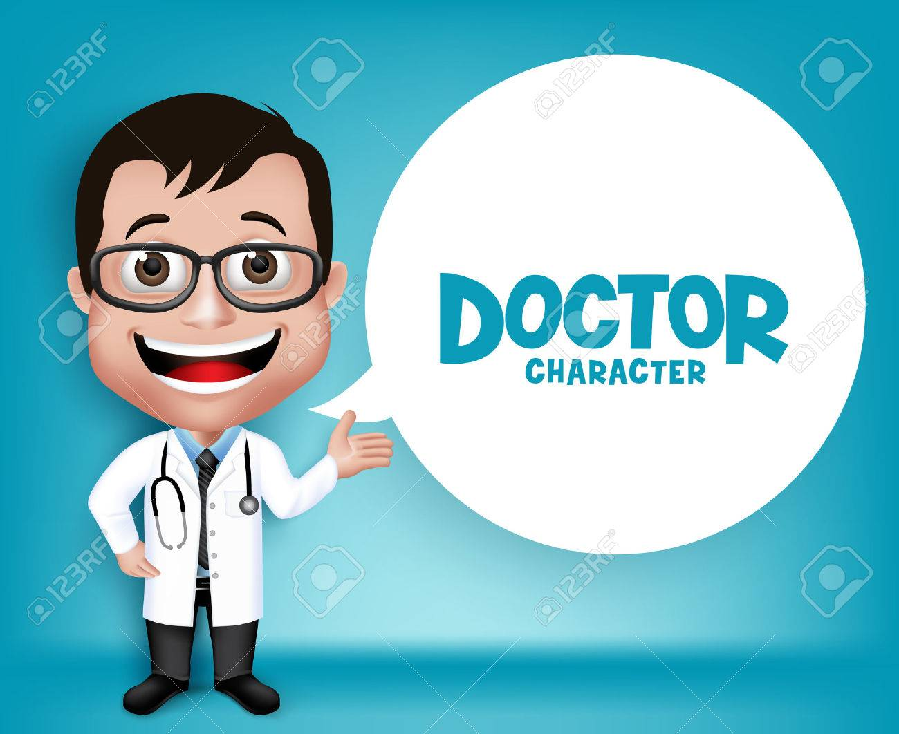 Realistic 3D Young Friendly Professional Doctor Medical Character Speaking Prescription in Patient. White Space for Message. - 43293785